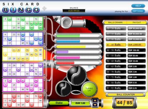 six card bingo