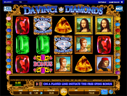 Davinci Diamonds Slots- Free Instant Play Game - Desktop / IOS / Android
