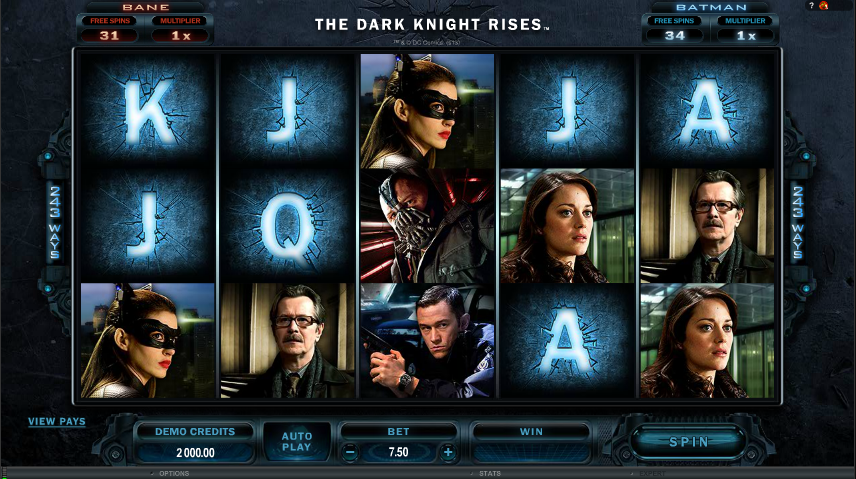 The dark knight rises video slot roulette history