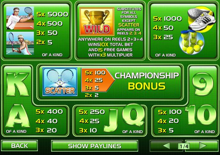 Play Tennis Stars Slots Online at Casino.com UK