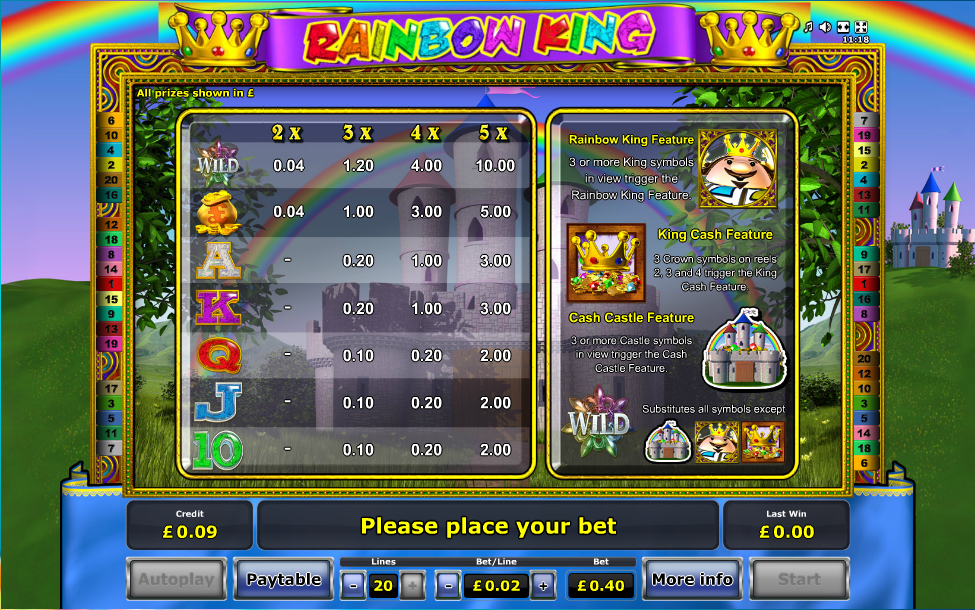 casino online for free rainbow king