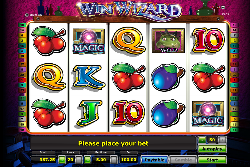 online casino slot wizards win