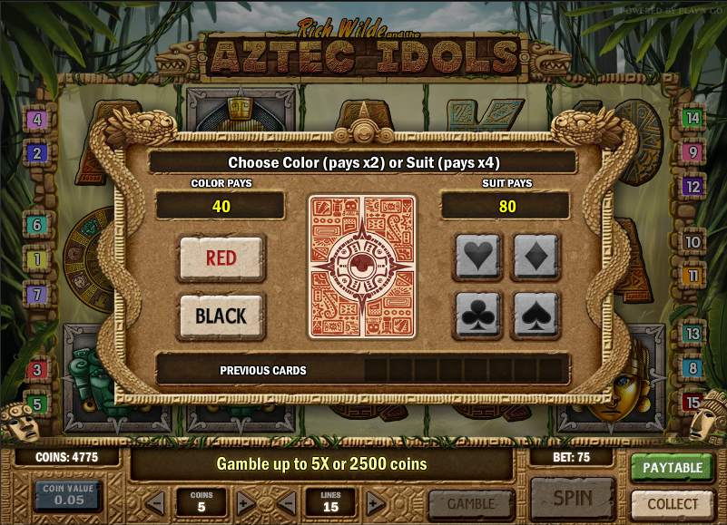 aztec idols gamble feature