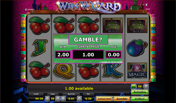 win wizard gamble feature