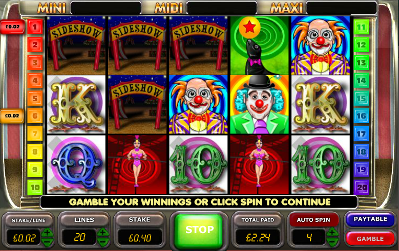 big top extravaganza slot