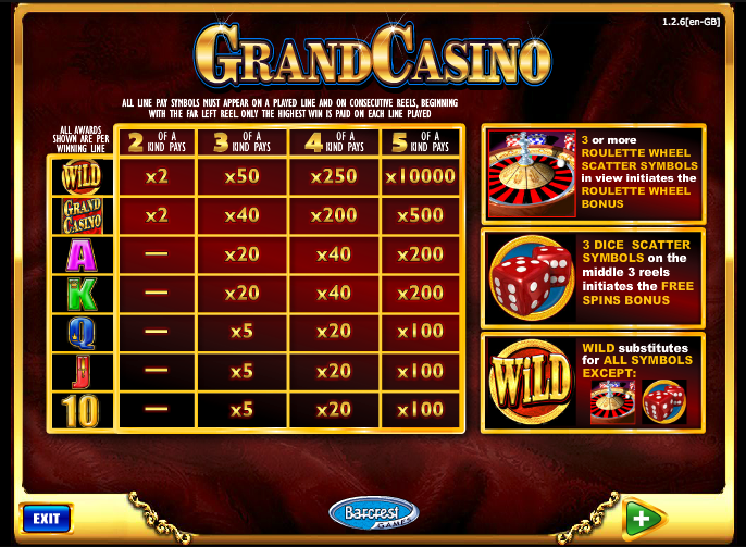 grand casino online sizzling games