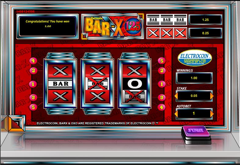 bar x 125 slot