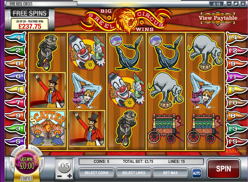 five reel circus slot review