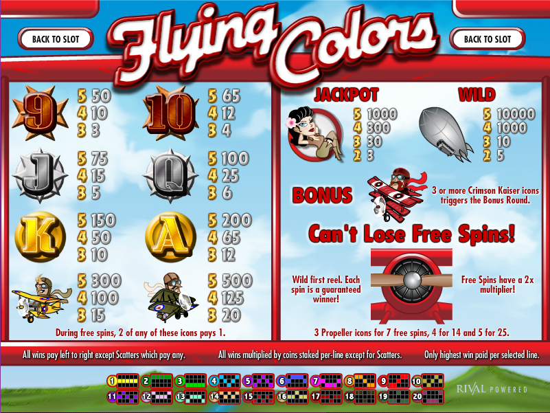 Flying Colors Slot Review & Free Instant Play Game