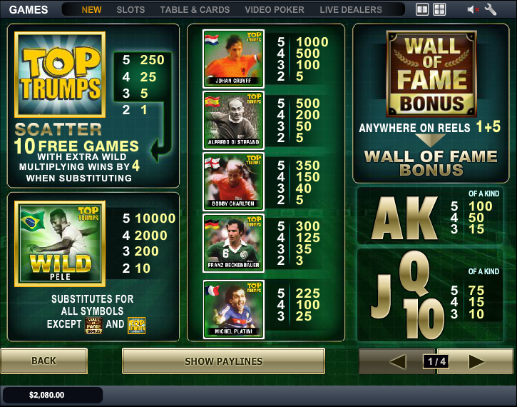 Play Top Trumps Football Legends Slots Online at Casino.com Canada