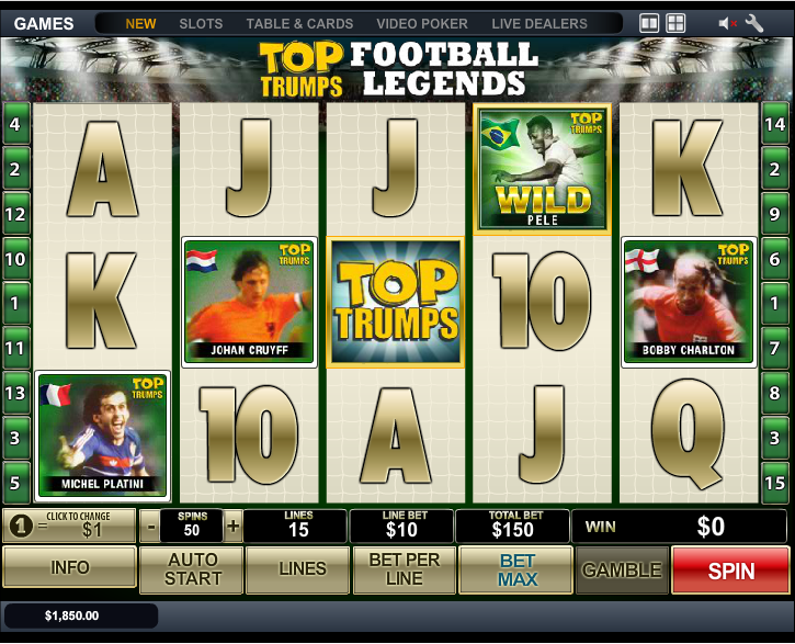 Play Top Trumps Football Legends Slots Online at Casino.com NZ