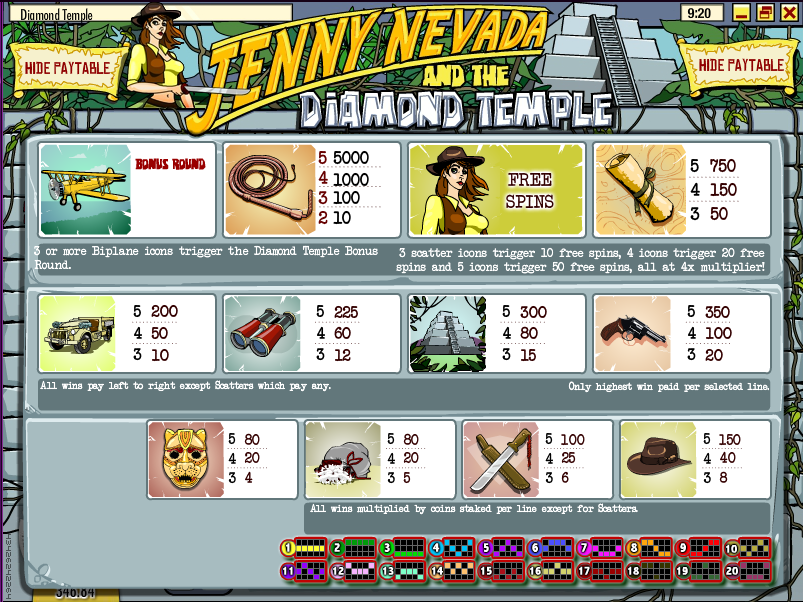 Jenny Nevada And The Diamond Temple Slot - Play for Free Now
