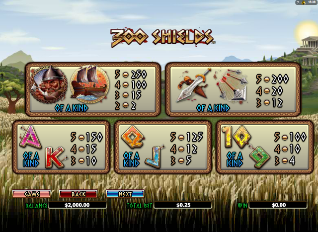300 Shields Video Slot Game for Real Money - NYX Gaming