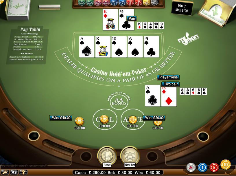Texas holdem bonus casino online