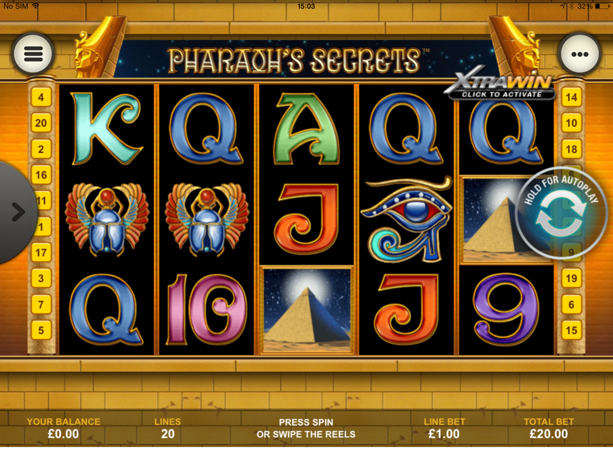 Play Pharaohs Secrets Online Slots at Casino.com UK