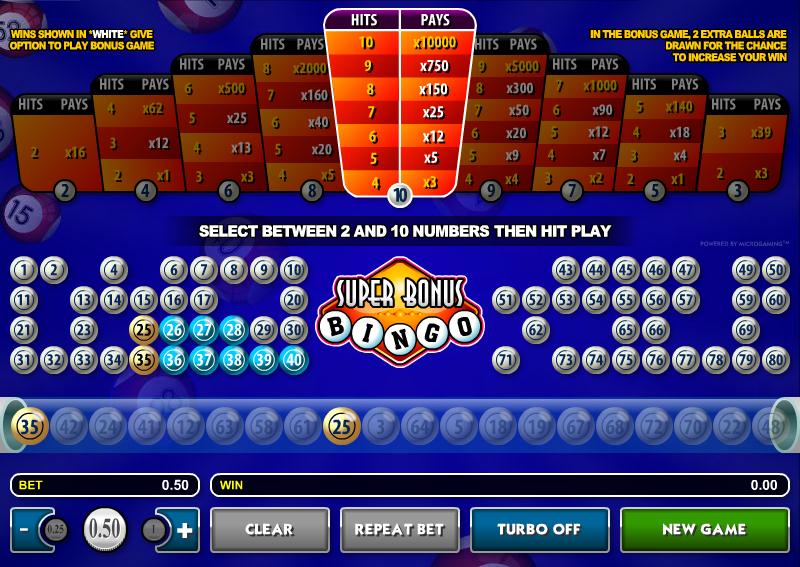 super bonus bingo slot