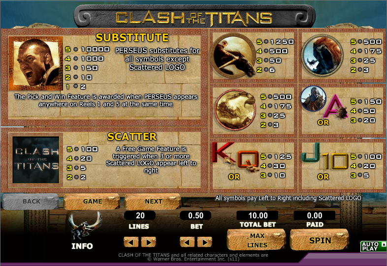 Clash of the Titans Slots - Play the Online Version for Free