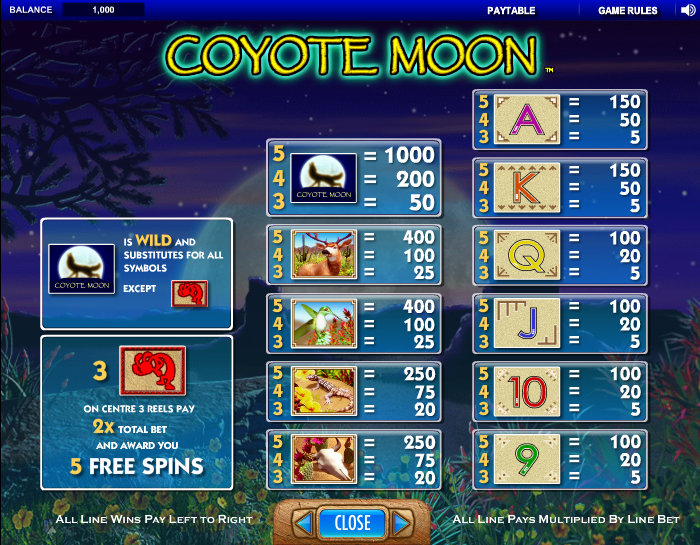 Slot coyote moon free