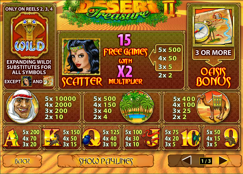 Desert Treasure 2 is a Playtech developed slot and is the follow-up to Desert Treasure.It has 5 reels and 10 paylines and players can win 15 free spins.Slots Directory4/4.Ayvalık