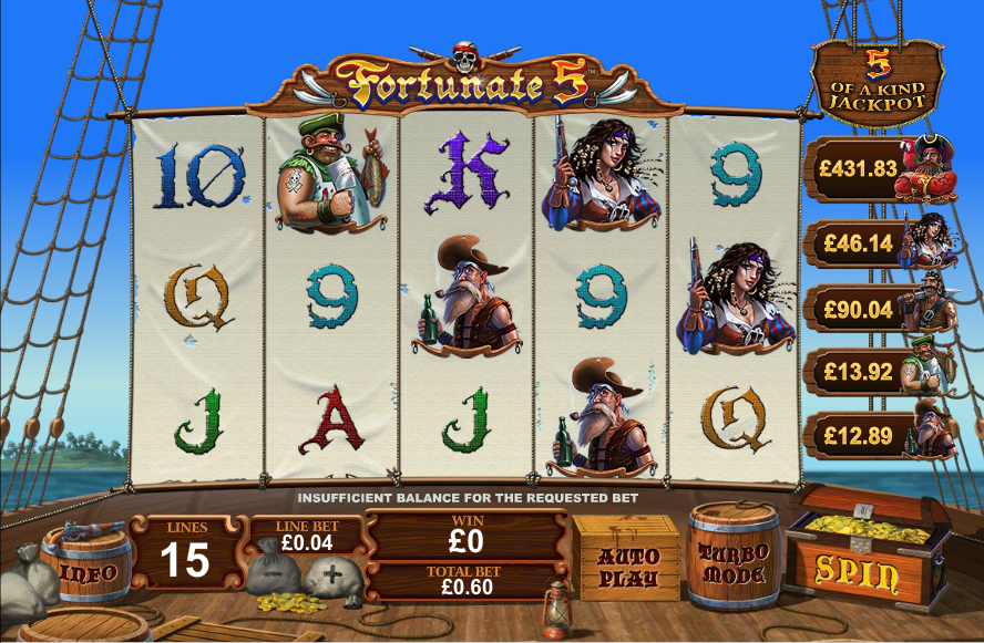 Play Fortunate 5 Slot at Casino.com UK