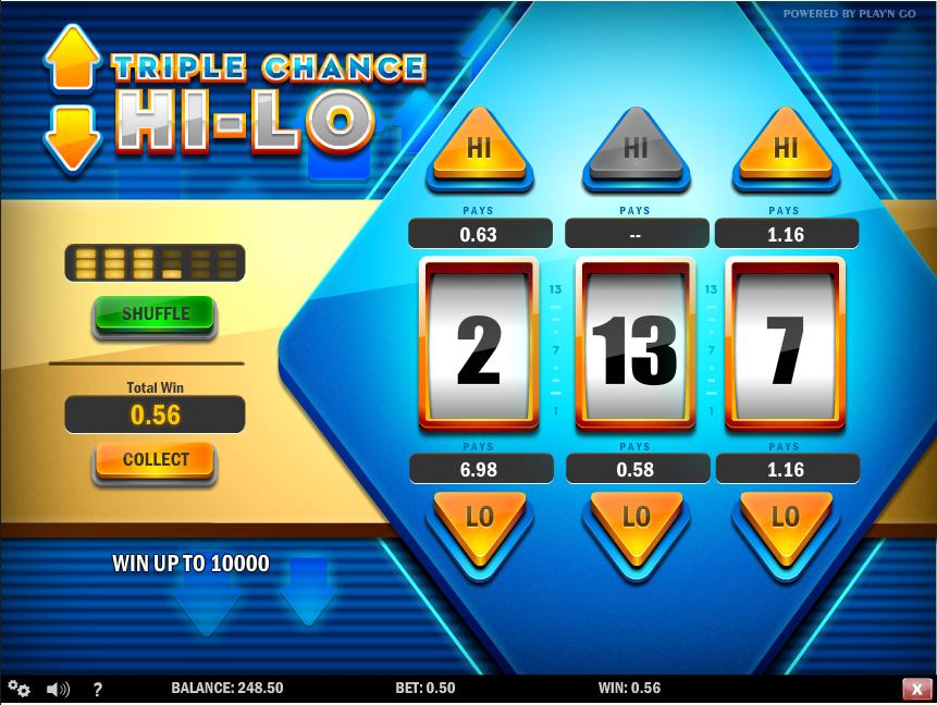 triple chance hi lo screenshot
