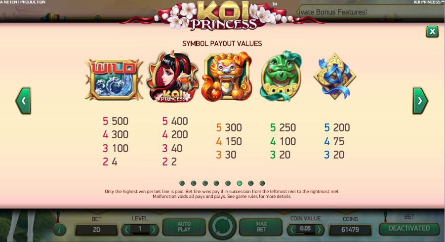 Play Koi Princess slot online at Casino.com UK