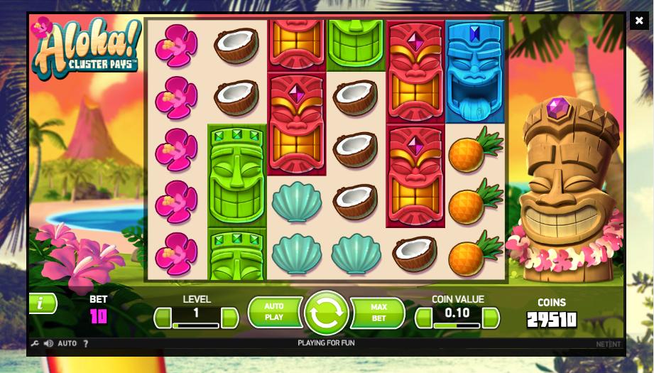 aloha cluster pays screenshot