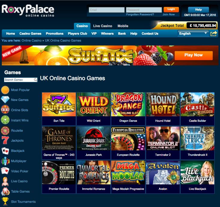 roxy palace sidebar screenshot