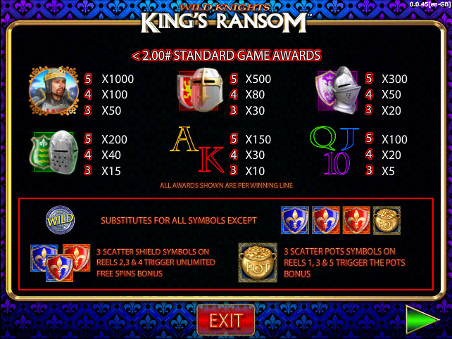 Wild Knights Kings Ransom Slot - Play this Video Slot Online