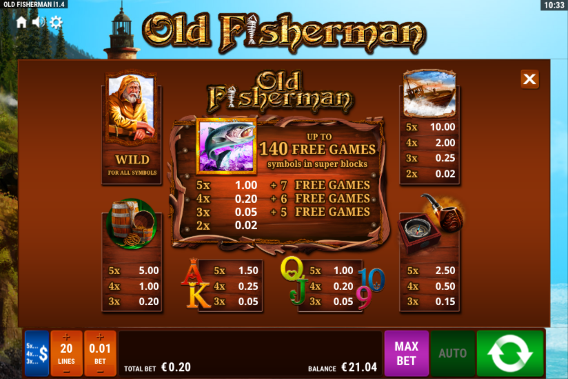 Old Fisherman Slot Machine - Play this Game for Free Online