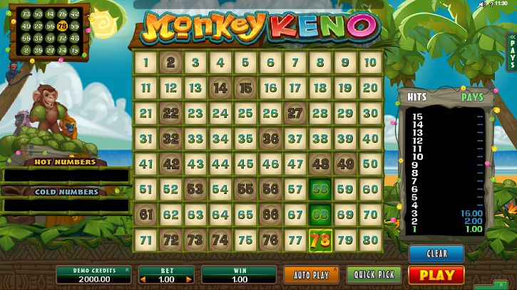 monkey keno screenshot