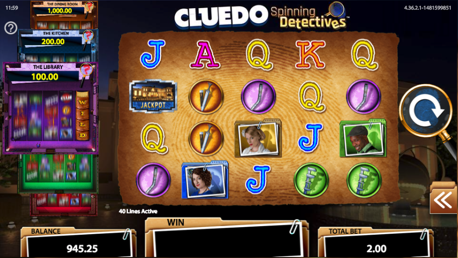 Cluedo Spinning Detectives Slots - Review and Free Online Game
