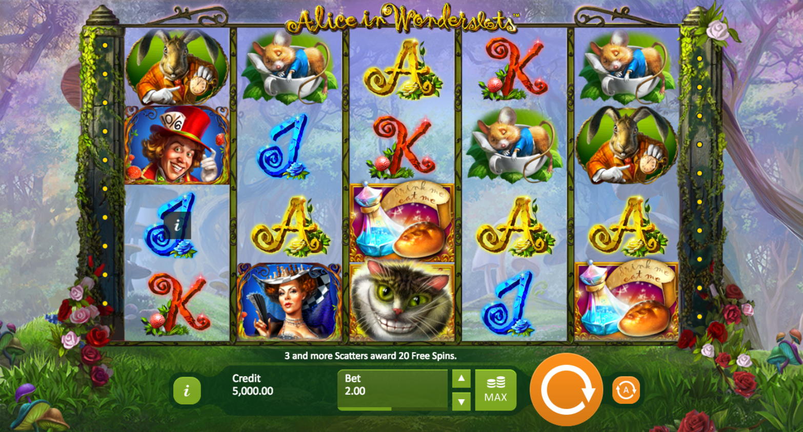 alice in wonderslots screenshot
