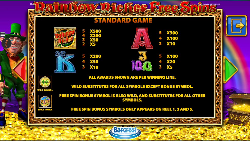 rainbow riches free spins casino