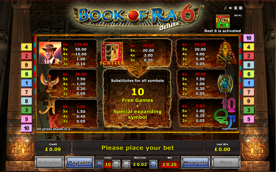 book of ra 6 free slot