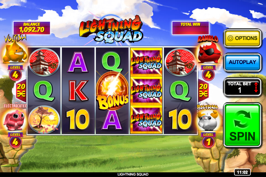 Lightning squad slot machine