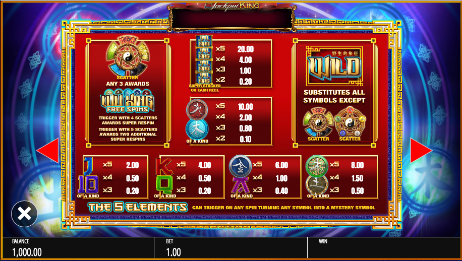 Wu Xing Slot - Play Genesis Gaming Slots Online for Free