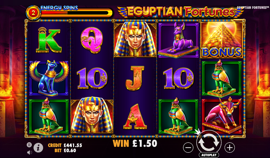 egyptian fortunes screenshot