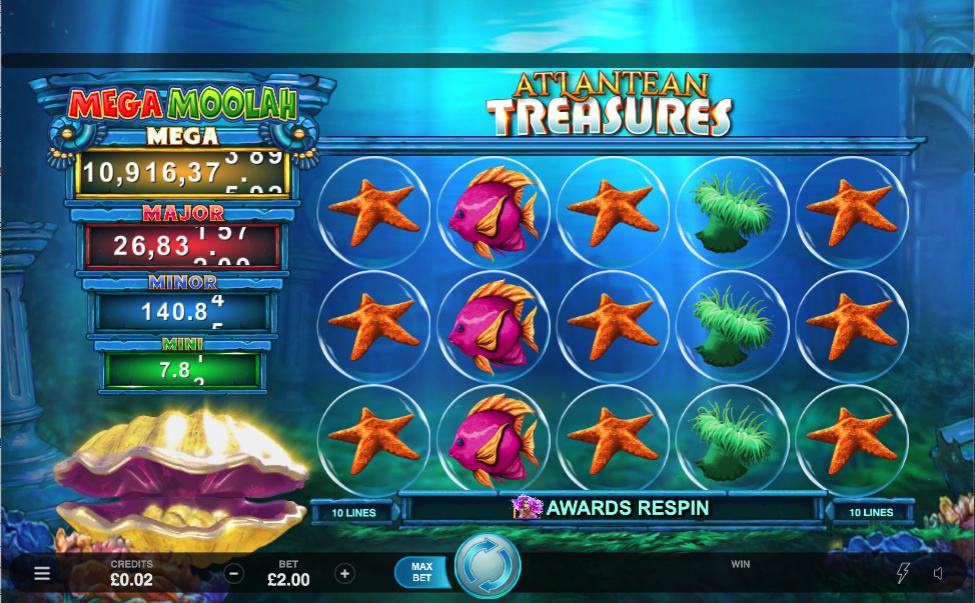 atlantean treasures mega moolah screenshot