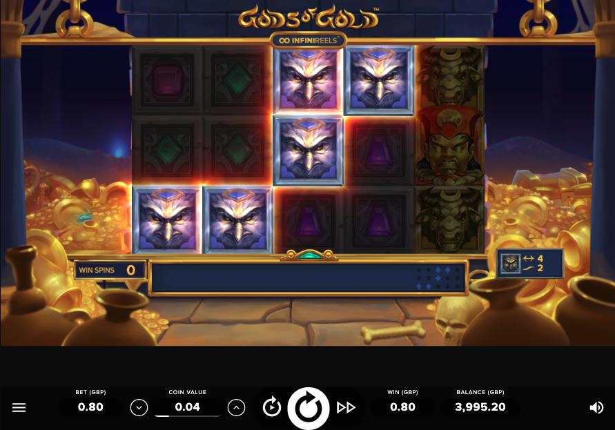 gods of gold infinireels screenshot