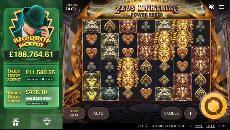 zeus lightning power reels screenshot